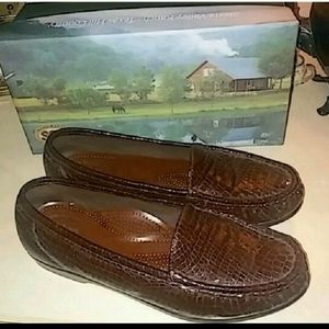 """New in Box """"SAS"""" Croc. Patent Leather Driving Mocs"""